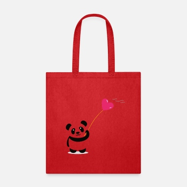 panda heart street art minimal baer cute love - Tote Bag