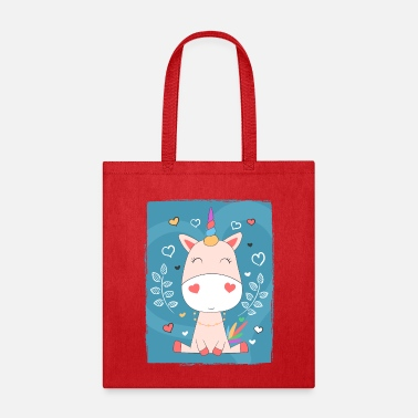 Childish Cute sweet pink baby unicorn, hearts colorful horn - Tote Bag