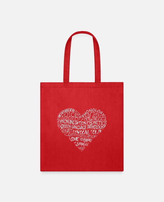 Heart Bags & Backpacks - SLP Words Heart - Tote Bag red