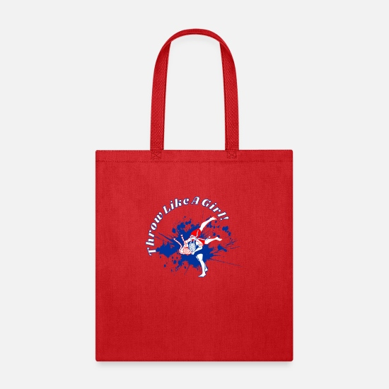 Wrestle Bags & Backpacks - Throw Like A Girl! - Tote Bag red