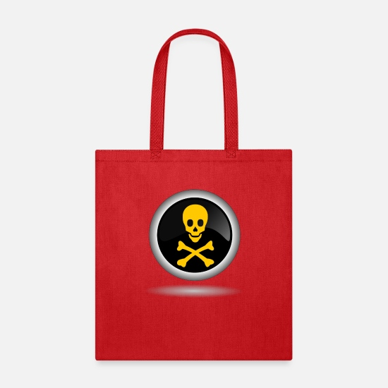 Skull Bags & Backpacks - skull crossbones sign - Tote Bag red