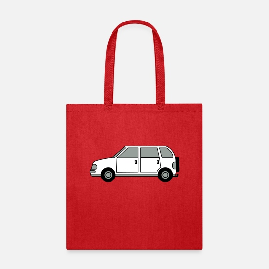 Clip Art Bags & Backpacks - car suv trailer haul holiday driving license repla - Tote Bag red