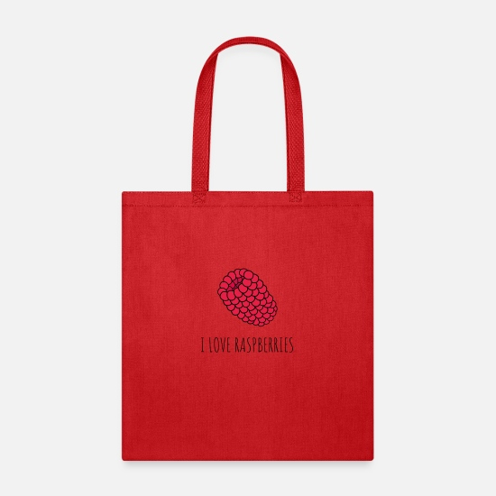 Love Bags & Backpacks - I LOVE RASPBERRIES - Tote Bag red