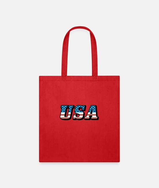 Red Bags & Backpacks - USA American Flag Stars and Stripes Patriotic 4th - Tote Bag red