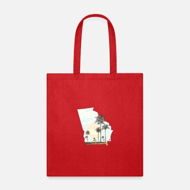 Georgia Palm Tree Beach Sunset State Outline - Tote Bag