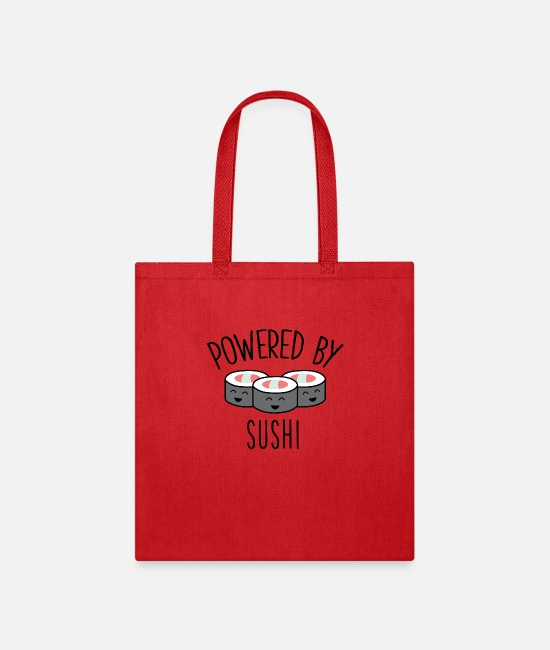 Cuisine Bags & Backpacks - Cute Funny Sushi Gift Powered By Sushi Japanese - Tote Bag red