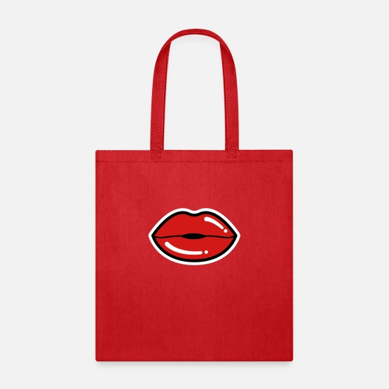 Lips Bags & Backpacks - Sexy Lips, Red Lips, Lipstick - Tote Bag red