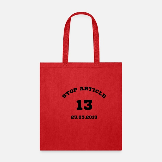 Censored Bags & Backpacks - Stop Article 13 - Tote Bag red