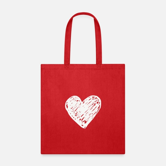 Heart Bags & Backpacks - Heart - Tote Bag red