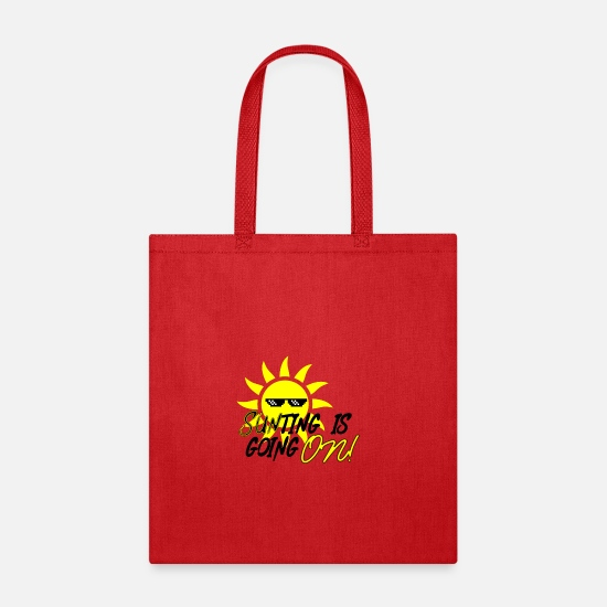 Sunrise Bags & Backpacks - Something is going sun sunlight holiday beach rays - Tote Bag red