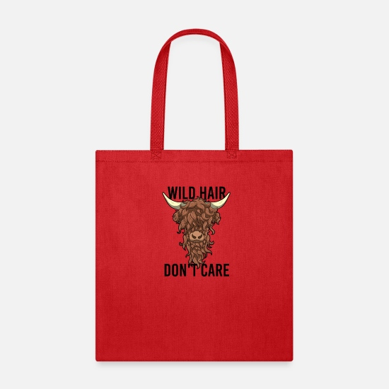 Scottish Bags & Backpacks - Wild Hair Do not Care Hipster Hairstyles Gift - Tote Bag red