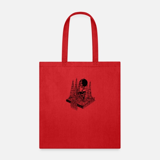 Gift Idea Bags & Backpacks - Fairy tale book in black and white - Tote Bag red
