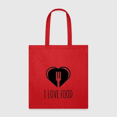 Funny Food Quote I Love To Eat - Heart, Fork Diet - Tote Bag