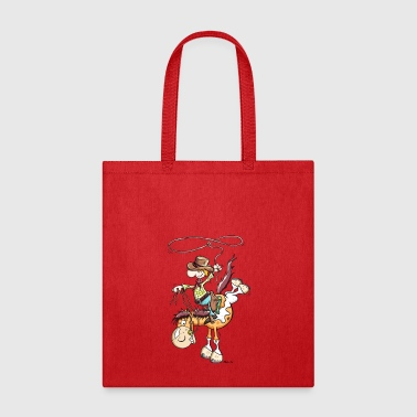 Cowboy with western horse - Tote Bag