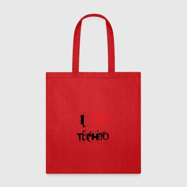 I love techno rave goa hardtek schwarz - Tote Bag
