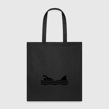 swimmer with shark - Tote Bag