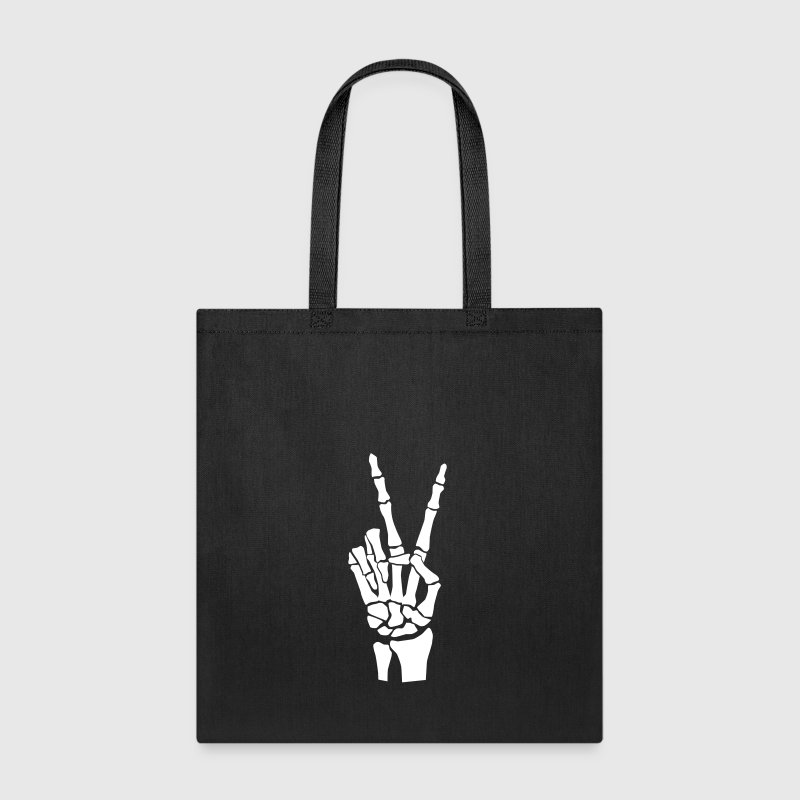 Hand Peace Sign Skeleton - Tote Bag