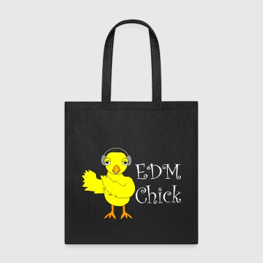 EDM Chick White Text  - Tote Bag