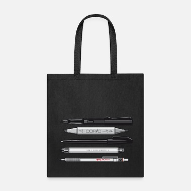 Black And White Collection Pro Pens (Grey) Rotring 600, Lamy, Koh-I-Noor, Pen - Tote Bag