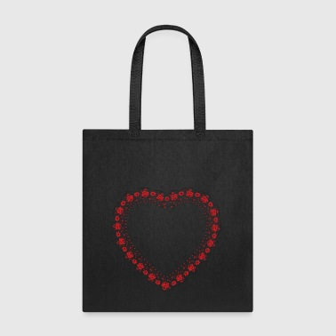 Heart red rose pattern - Tote Bag