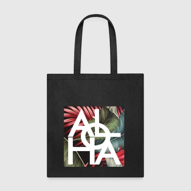 Aloha White Hawaii Vintage Palm Print - Tote Bag