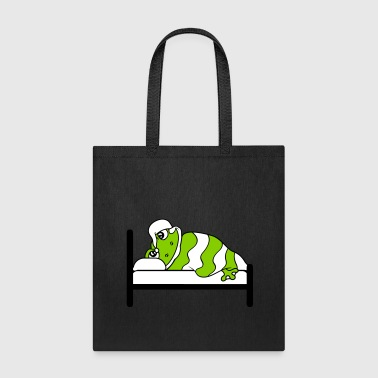 tired bed sleeping night calm relaxation frog lyin - Tote Bag