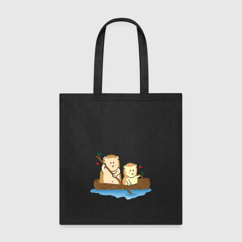 cute hedgehog couple on boat - Tote Bag