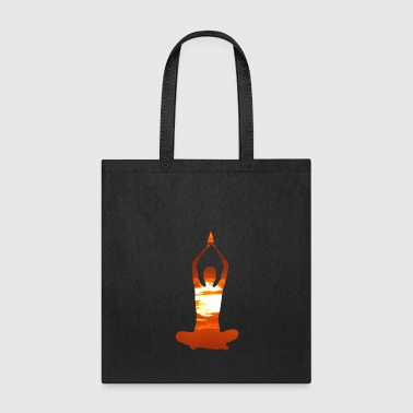 Man meditating yoga in the evening sun 02 - Tote Bag