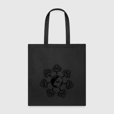 Earth Day Tree People (black) - Tote Bag