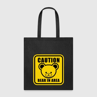 Cute Teddy Bear Warning Sign in yellow - Tote Bag