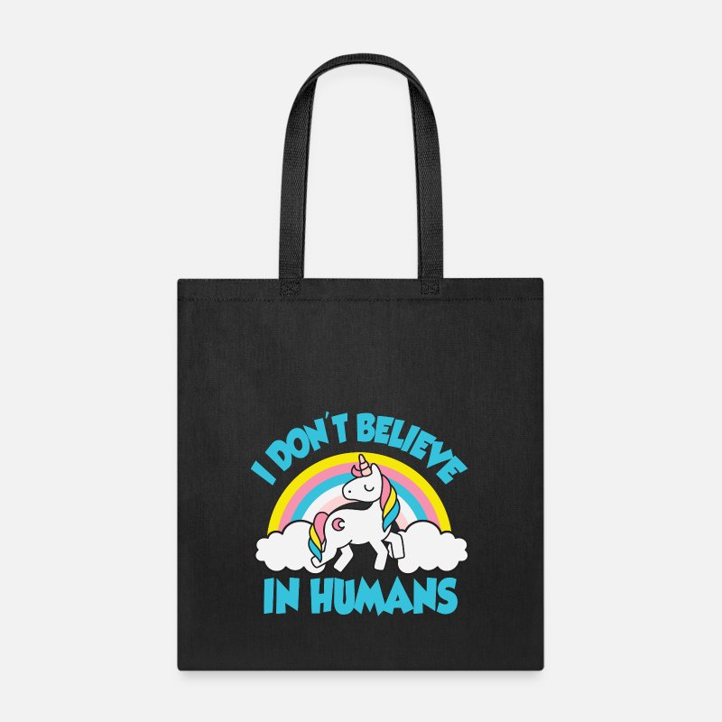 Christmas Bags & backpacks - Unicorns - I don't believe in humans - Tote Bag black