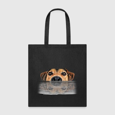 Sweet Dog Charlie Swimming and His Reflection - Tote Bag