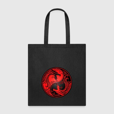 Yin Yang Dragons Red and Black - Tote Bag