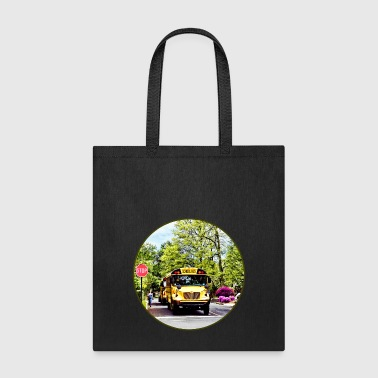 School Buses At Stop Sign - Tote Bag
