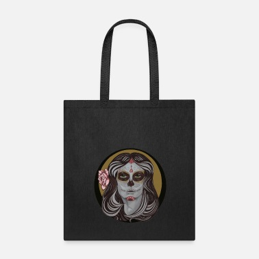 Day Sugar Skull in Pinstripes - Tote Bag