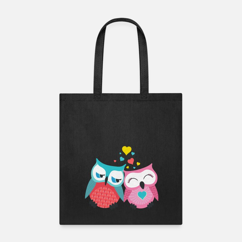 Valentine's Day Bags & backpacks - owls in love  - Tote Bag black