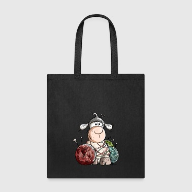 Funny Sheep With Wool Ball - Tote Bag