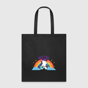 Iron Metal METAL RAINBOW BAND FUNNY UNICORN IRONIC - Tote Bag