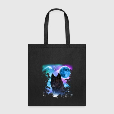 Wolves Black Wolf MidNight Forest - Tote Bag