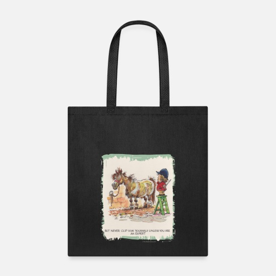 Cartoon Bags & Backpacks - Thelwell Hairdresser Be A Expert - Tote Bag black