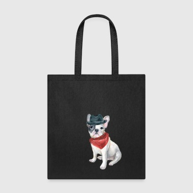Frenchie French Bulldog Gangster Hat Bandana Red Dogs In Clothes - Tote Bag