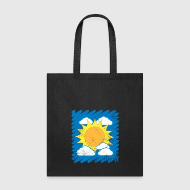 Drawn Sky Kids Drawing Sun Clouds summer - Tote Bag