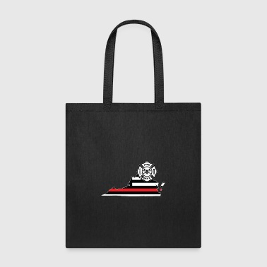 Virginia Firefighter Shield Thin Red Line Flag - Tote Bag