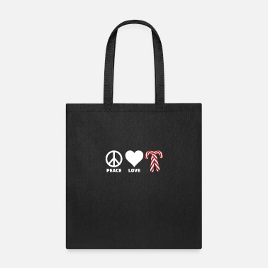Cane Peace Love Candy Canes Merry Christmas Holiday - Tote Bag