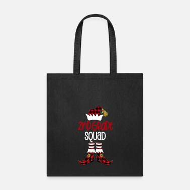 Chain Christmas Second Grade Squad Elf Teacher Student Buffalo Plaid Holiday Gift - Tote Bag
