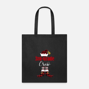 Grade Christmas 3rd Grade Crew Elf Teacher Student Cute Buffalo Plaid Holiday Gift - Tote Bag