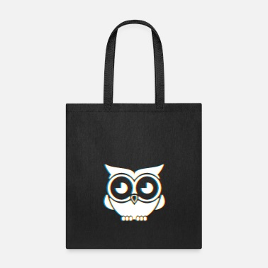 Neon Psychedelic Owl Gift | Trippy Retro 3D Effect - Tote Bag