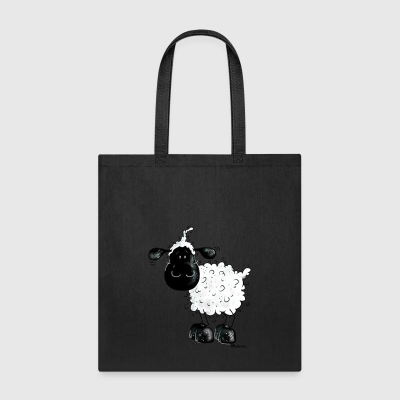 Cute Black Sheep Cartoon - Tote Bag