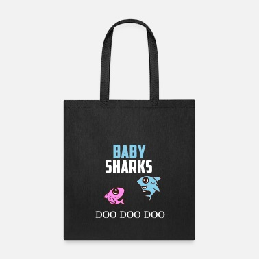 Two Two Baby Sharks Doo Doo Doo Pregnancy Twins Gift - Tote Bag