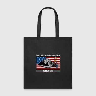 Fire Proud Firefighter Sister With My Hero Ribbon - Tote Bag